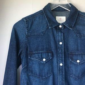 AG ADRIANO GOLDSCHMIED Dark Wash Denim Shirt XS